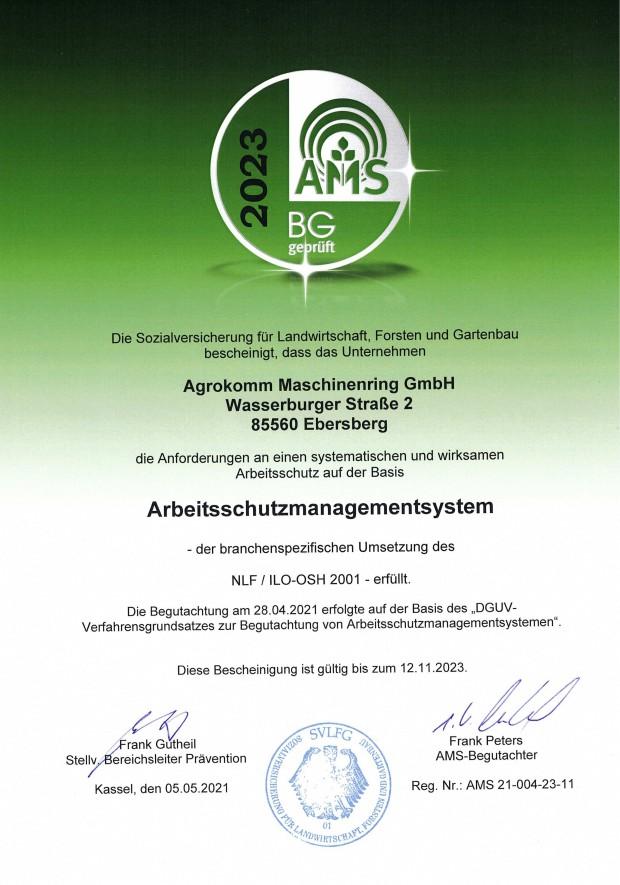 AMS Zertifikat für unser Arbeitsschutzmanagementsy