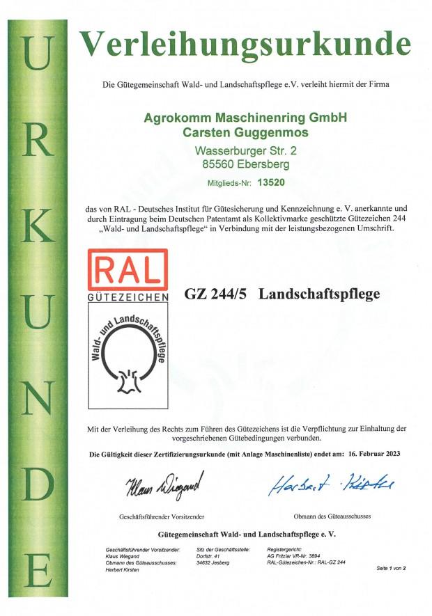 KVG Zertifikat für Kompetente Verkehrs und Grünflä